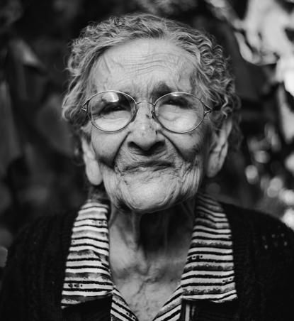 old woman wearing glasses